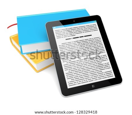 E-book reader concept. Tablet pc computer and a colorful books on a white background. 3d rendered image - stock photo