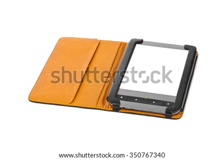 E-book reader isolated on white background - stock photo