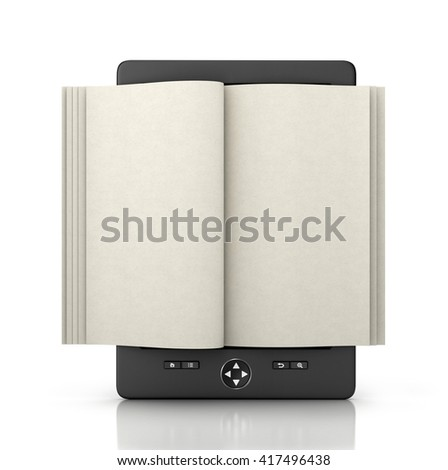 e-book reader tablet with empty pages isolated, 3d illustration - stock photo