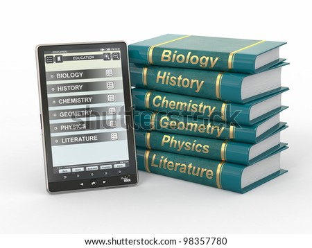 E-book reader. Textbooks and tablet pc. 3d - stock photo