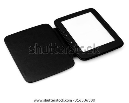 E-book reader with a white screen on a white background - stock photo
