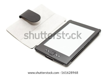 E-book reader with leather cover isolated on white background. - stock photo