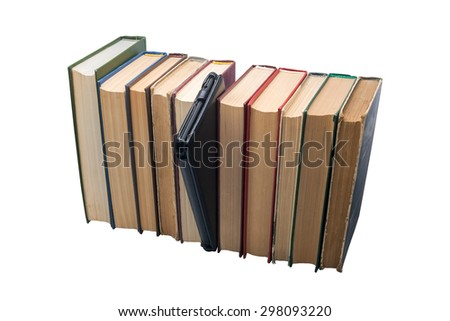 E-book vs old books choise isolated on the white background - stock photo
