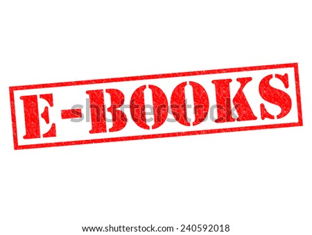 E-BOOKS red Rubber Stamp over a white background. - stock photo