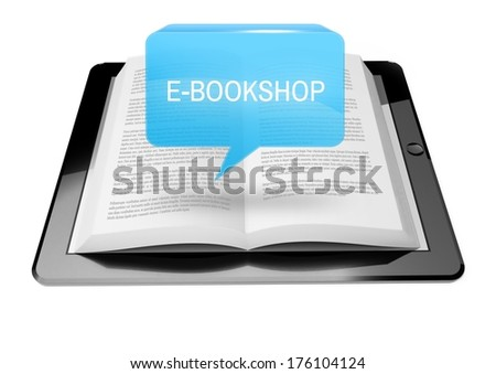 E-bookshop icon button above ebook reader tablet with text
