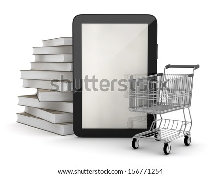 E-bookstore - tablet computer, books and shopping cart  - stock photo