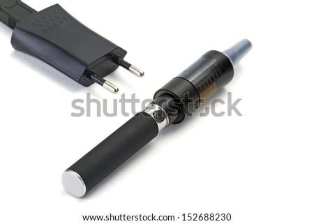 E-cigarette on white background - stock photo