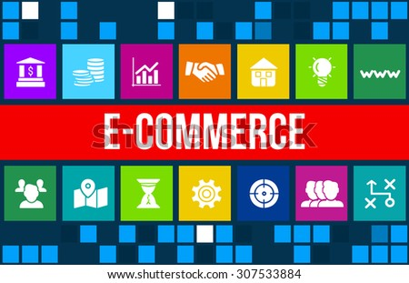 E-commerce and internet shopping concept image with business icons and copyspace. - stock photo