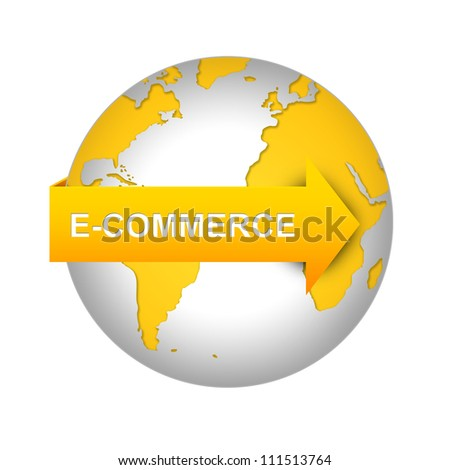 E-Commerce and Online Shopping Concept, Orange E-Commerce Arrow On The World Isolated on White Background - stock photo