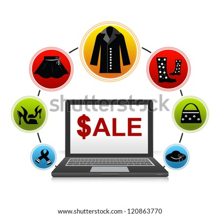 E-Commerce and Online Shopping Concept Present by Computer Notebook With $ale on Screen and Women Fashion Icon Around Isolate on White Background - stock photo