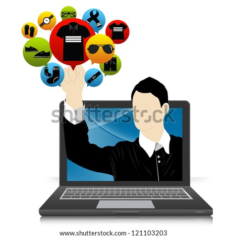 E-Commerce and Online Shopping Concept Present by Computer Notebook With Businessman Pointing to Colorful Men Fashion Icon Isolate on White Background