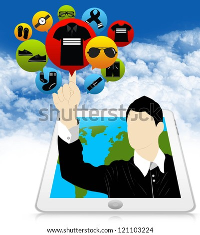 E-Commerce and Online Shopping Concept Present by Tablet PC With Businessman Pointing to Colorful Men Fashion Icon in Blue Sky Background - stock photo
