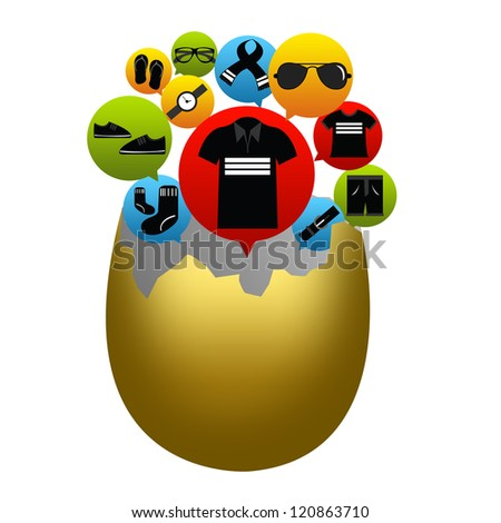 E-Commerce and Online Shopping Concept Present by The Cracked Egg With The E-Commerce Icon For Men Fashion Isolated on White Background - stock photo