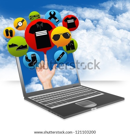 E-Commerce Business and Internet Online Shopping Concept Present by Computer Notebook With Hand and Colorful Men Fashion Icon Above in Blue Sky Background - stock photo