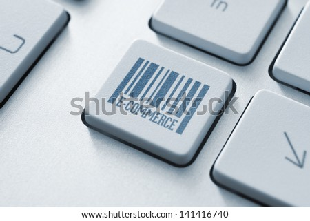 E-commerce button on a modern computer keyboard - stock photo