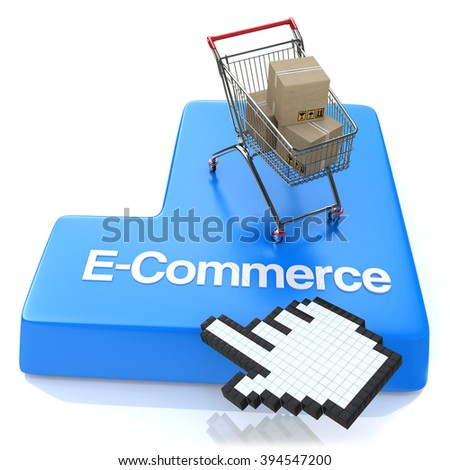 E-commerce button - Online shopping concept in the design of the information related to the Internet - stock photo