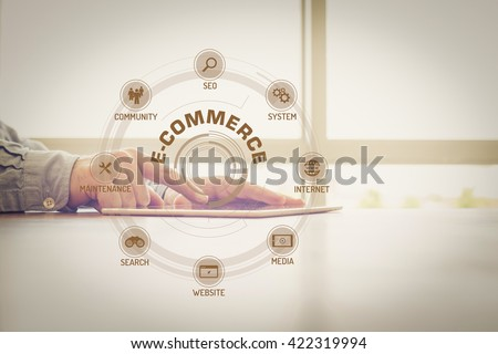 E-COMMERCE chart with keywords and icons on screen - stock photo