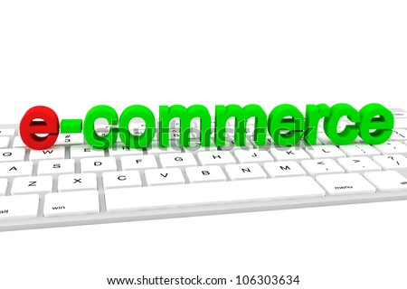 E-commerce concept. E-commerce green letters on a white keyboard - stock photo