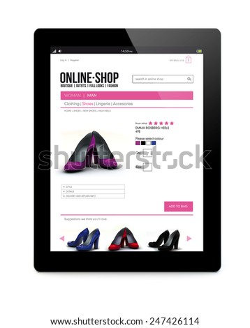 e-commerce concept: modern touchscreen tablet PC computer with color business shop online interface on the screen isolated on white background - stock photo