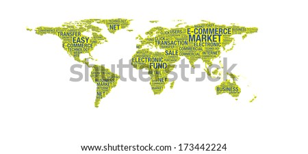E-commerce concept on world map illustration in word collage - stock photo