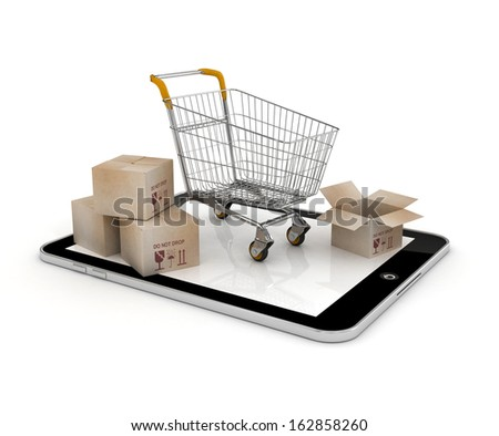 E-commerce Concept. Shopping Cart with Boxes over Tablet PC on a white background  - stock photo