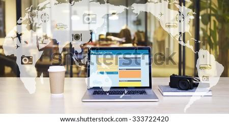 e-commerce concept: travel online - stock photo