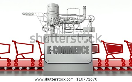 E-commerce concept with carts and machine - stock photo
