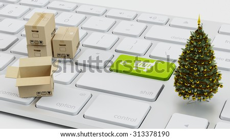 E-Commerce concept with christmas tree and packaging boxes on computer keyboard (3D Rendering) - stock photo