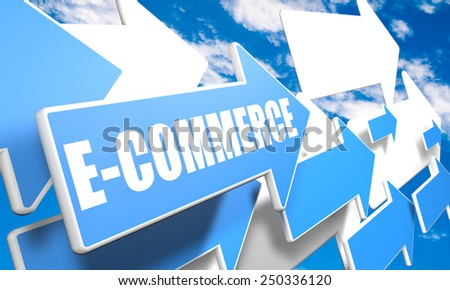 E-Commerce 3d render concept with blue and white arrows flying in a blue sky with clouds - stock photo
