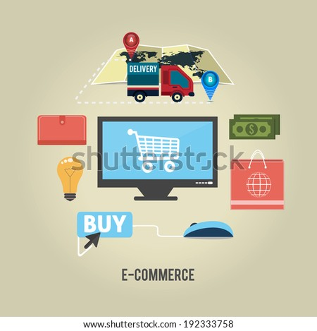 E-commerce infographic concept of purchasing product via internet, mobile shopping communication and delivery service. Raster version - stock photo