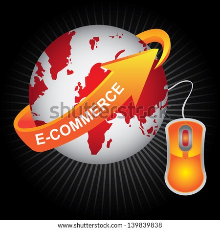E-Commerce, Internet, Online Marketing, Online Business or Technology Concept Present By Red Earth With Orange E-Commerce Arrow and Orange Mouse in Dark Shiny Background - stock photo