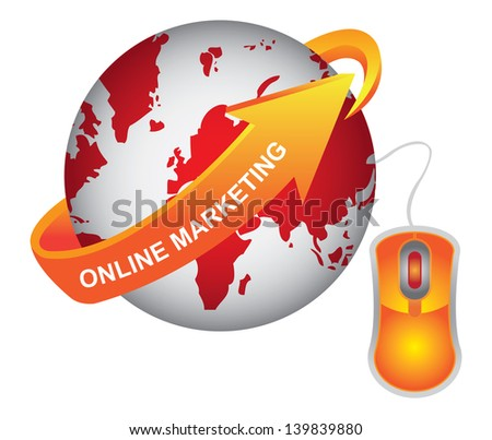 E-Commerce, Internet, Online Marketing, Online Business or Technology Concept Present By Red Earth With Orange Online Marketing Arrow and Orange Mouse Isolated on White Background - stock photo
