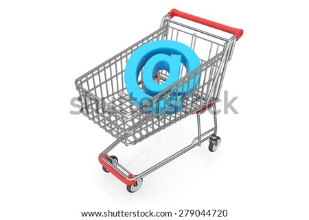 E-commerce, internet shopping, the symbol of e-commerce with clipping path, online shopping concept. - stock photo