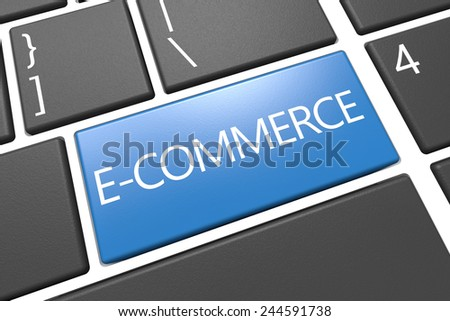 E-Commerce - keyboard 3d render illustration with word on blue key - stock photo