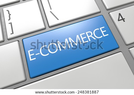 E-Commerce - keyboard 3d render illustration with word on blue key