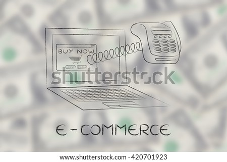 e-commerce: laptop with funny pos terminal coming out of the screen with a spring,  metaphor of online payments