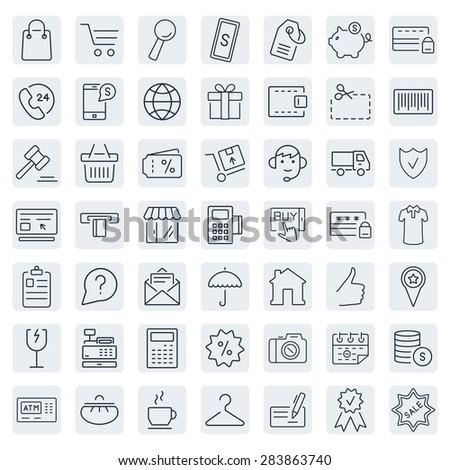 E-commerce. Outline web icons set - stock photo