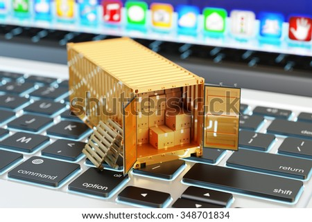 E-commerce, packages delivery, shipping service and freight transportation concept, open cargo container full of cardboard boxes on computer laptop keyboard closeup view - stock photo