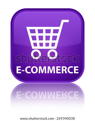 E-commerce purple square button - stock photo