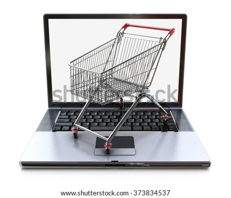 E-commerce. Shopping cart on laptop. Conceptual image in the design of information related to the Internet and shopping