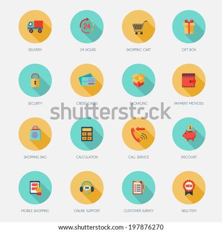 E-commerce shopping icons flat set of delivery shopping cart gift box isolated  illustration - stock photo