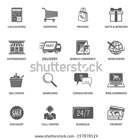 E-commerce shopping icons set of calculating packing delivery payment elements  illustration - stock photo