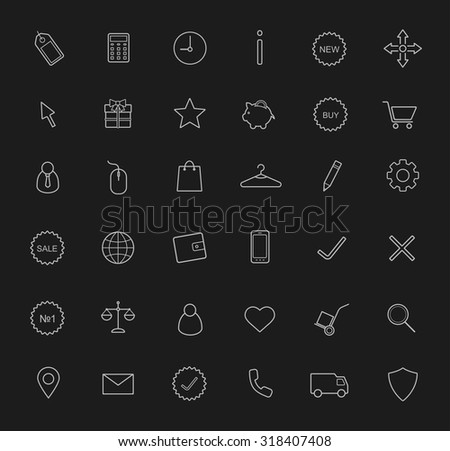 E-commerce, shopping linear icons set. Delivery service chalk drawing symbols. Web store line art pictograms isolated on blackboard. Raster - stock photo
