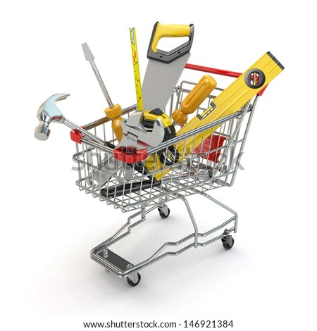 E-commerce. Tools and shopping cart on white isolated background. 3d - stock photo