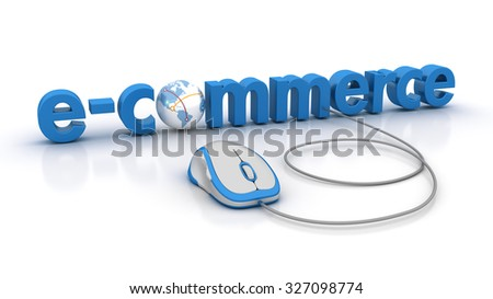 E-COMMERCE Word with Globe Earth and Computer Mouse - High Quality 3D Render - stock photo