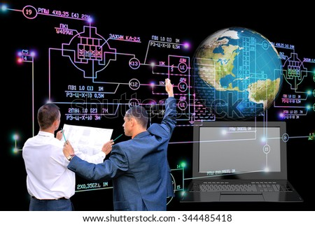 E-connection engineering technology. Working Engineer designer - stock photo