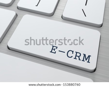 E-CRM. Information Technology Concept. Button on Modern Computer Keyboard. 3D Render. - stock photo