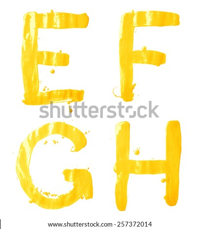 E, F, G, H letter character set of a hand drawn with the oil paint brush strokes, isolated over the white background - stock photo
