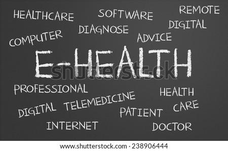 E-health word cloud written on a chalkboard - stock photo