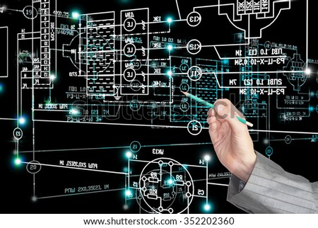 E-industrial designing engineering technology. - stock photo